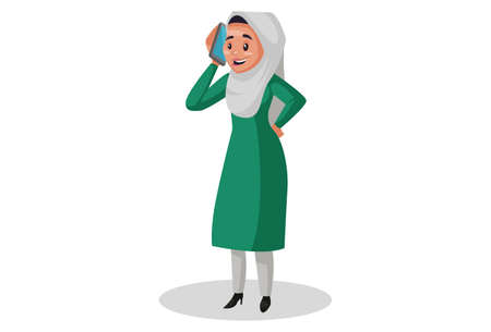 Vector graphic illustration. Muslim woman is talking on a mobile phone. Individually on white background.