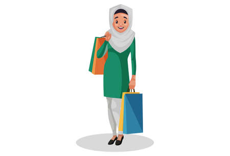 Vector graphic illustration. Muslim woman is holding shopping bags in both hands. Individually on white background. Illustration