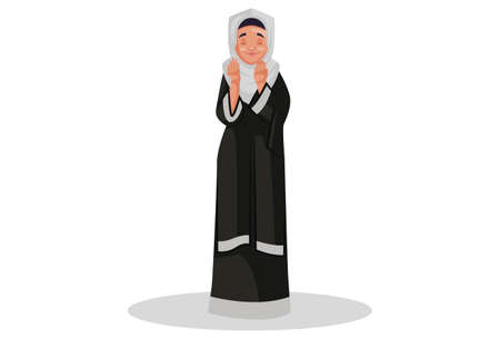 Vector graphic illustration. Muslim woman is standing and praying to god. Individually on white background.