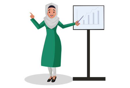 Vector graphic illustration. Muslim woman is showing a graph chart. Individually on white background.