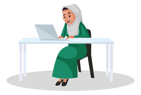 Vector graphic illustration. Muslim woman is sitting on a chair and working on a laptop. Individually on white background.