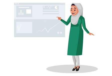 Vector graphic illustration. Muslim woman is showing a report in chart. Individually on white background.
