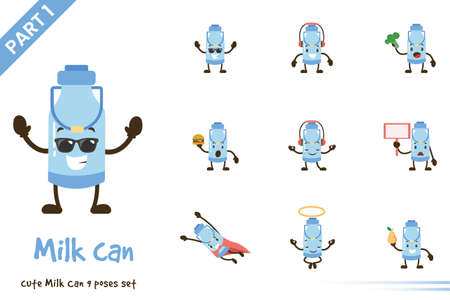 Cute milk can pose set. Vector cartoon illustration. Isolated on white background.