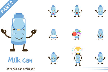 Cute milk can pose set. Vector illustration. Isolated on white background.