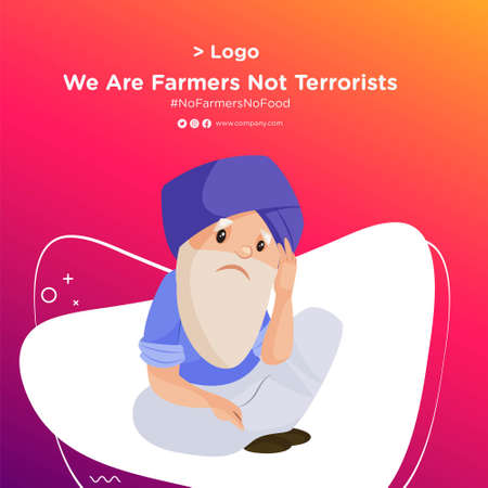 Banner design of Punjabi old man is sitting sadly. Vector cartoon illustration. Isolated on a colored background.