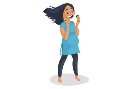 Vector graphic illustration. Pregnant woman is eating fruits. Individually on a white background.