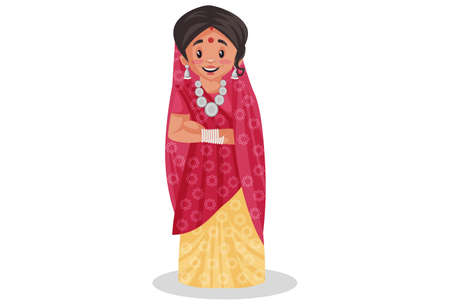 Vector graphic illustration. Rajasthani woman is standing. Individually on white background. Vettoriali
