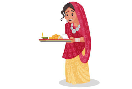 Vector graphic illustration. Rajasthani woman is holding a worship plate in her hands. Individually on white background.