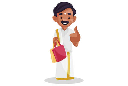 Vector graphic illustration. Tamil man is showing thumbs up and holding shopping bags. Individually on white background.