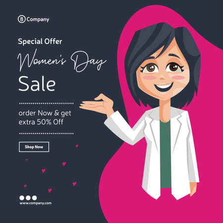 Happy women's day banner design. Lady doctor with hand expression. Vector graphic illustration.