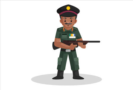 Army man is holding a rifle in hands. Vector graphic illustration. Individually on a white background.