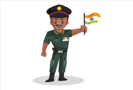Army man is holding an Indian flag in his hand. Vector graphic illustration. Individually on a white background.