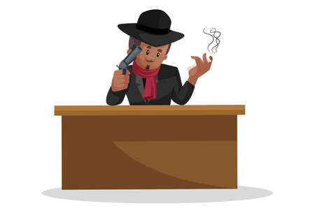 Vector graphic illustration. Don is sitting on a chair, holding a gun on one hand and other hand holding a cigarette. Individually on white background.