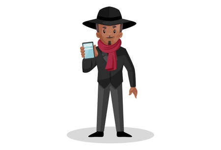 Vector graphic illustration. Don is showing the phone. Individually on white background. Vecteurs