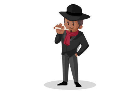Vector graphic illustration. Don is smoking a cigarette. Individually on white background.
