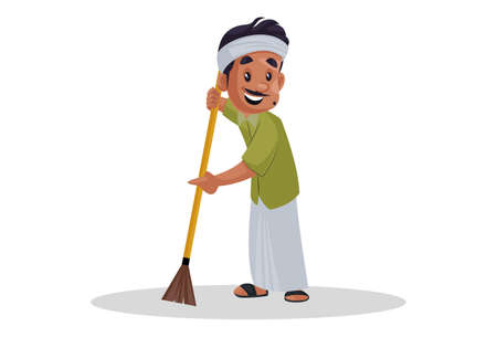 Vector graphic illustration. Gardener is cleaning the garden with a broom. Individually on white background.