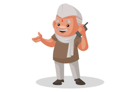 Vector graphic illustration. Politician is talking on a mobile phone. Individually on a white background.