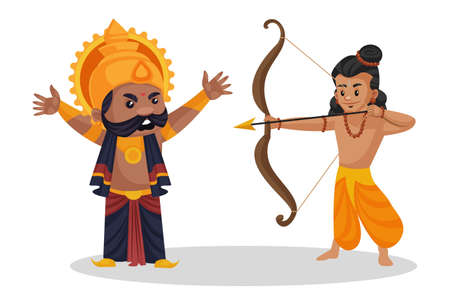 Vector graphic illustration. Lord Ram is holding a bow and arrow and killing Ravana. Individually on a white background. Ilustración de vector