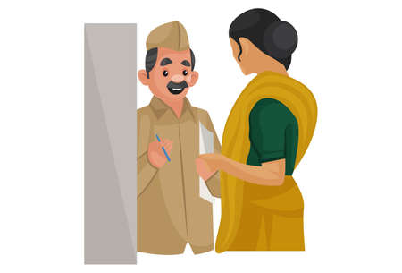 Vector graphic illustration. Postman is standing at the door and talking to a woman. Individually on white background.