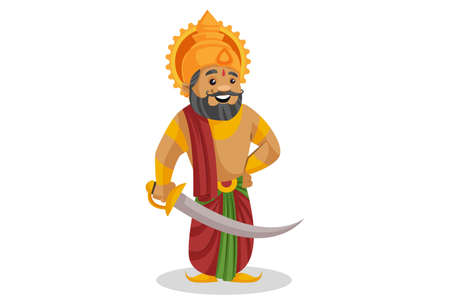 Vector cartoon illustration. King Dashratha is holding a sword in hand. Isolated on a white background.