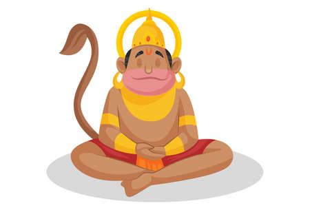 Vector graphic illustration. Lord Hanuman is doing meditation. Individually on a white background.