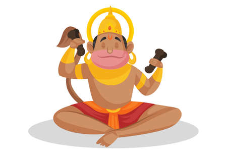 Vector cartoon illustration. Lord hanuman is in Lord Rama's devotion. Isolated on a white background.
