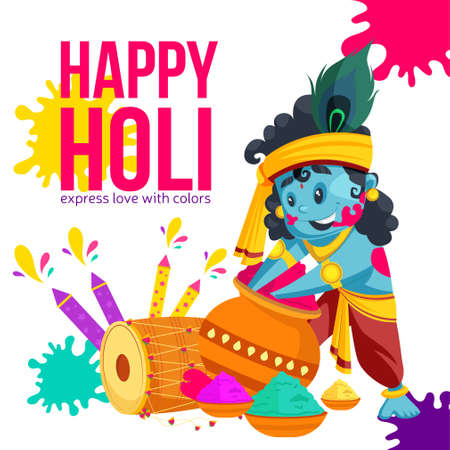 Happy holi express love with colors banner design. Vector graphic illustration.