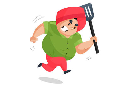 Punjabi man is holding a spatula in hand and running. Vector graphic illustration. Individually on a white background.