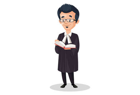 Judge is reading a law book. Vector graphic illustration. Individually on white a background.