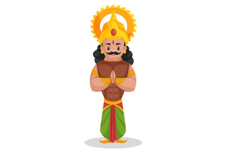 Arjuna is doing greet with hands. Vector graphic illustration. Individually on white background.