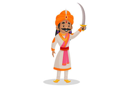 Vector graphic illustration. Samrat Ashok is holding a sword in hand and going for the war. Individually on a white background.