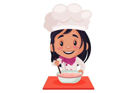 Bakery girl is making batter for the cake. Vector graphic illustration. Individually on a white background. 向量圖像