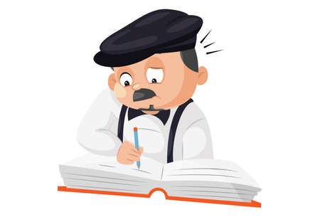 Principal is writing on notebook with pen. Vector graphic illustration. Individually on a white background. Vektorové ilustrace