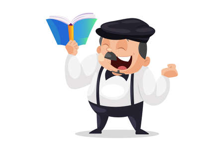 Principal is happy and holding book in hand. Vector graphic illustration. Individually on a white background.