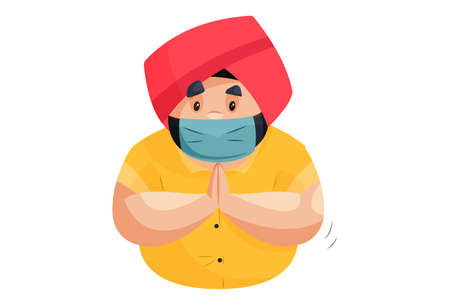 Punjabi man is wearing a mask and with greet hands. Vector graphic illustration. Individually on a white background.