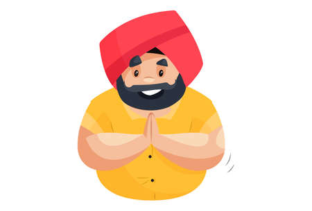 Punjabi man is with greet hands. Vector graphic illustration. Individually on a white background.