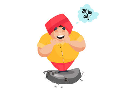 Punjabi man is standing on the weighing machine and smiling to see its weight is 200kg only. Vector graphic illustration. Individually on a white background.