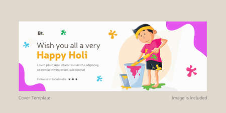 Wishing You All A Very Happy Holi Cover Page With boy.