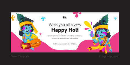 Wishing You All A Very Happy Holi Cover Page Template.