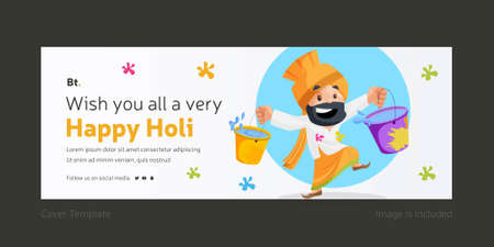 Wishing You All A Very Happy Holi Cover Page With Punjabi man holding the color buckets in both hands. Ilustração