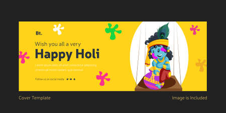 Wishing You All A Very Happy Holi Cover Page With Lord Krishna sitting on the swing.