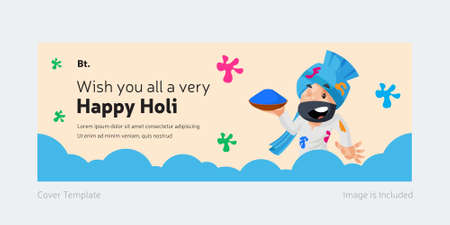 Wishing You All A Very Happy Holi Cover Page With Punjabi man holding the color plate in hand. Ilustração