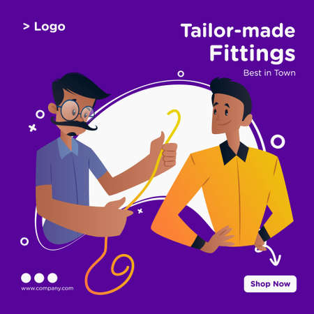 Tailor-made fittings banner design. Tailor is holding measuring tape and standing with a boy. Vector graphic illustration. Vektorgrafik