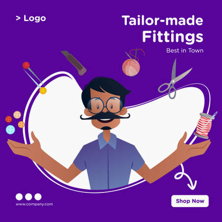 Tailor-made fittings banner design. Tailor is with his tools. Vector graphic illustration.