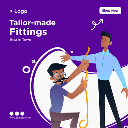 Tailor-made fittings banner design. Tailor is measuring man for dress. Vector graphic illustration.