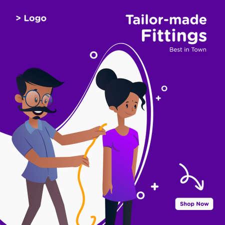 Tailor-made fittings banner design. Tailor is measuring woman from backside for dress. Vector graphic illustration. Vektorgrafik