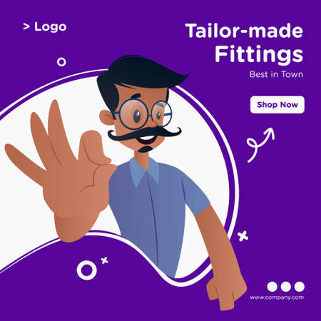 Tailor-made fittings banner design. Tailor is showing an okay sign. Vector graphic illustration.