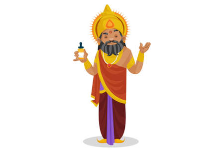 King Dhritarashtra is holding a medicine bottle in hand. Vector graphic illustration. Individually on a white background.