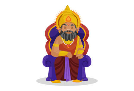 King Dhritarashtra is sitting on the throne. Vector graphic illustration. Individually on a white background. Vetores