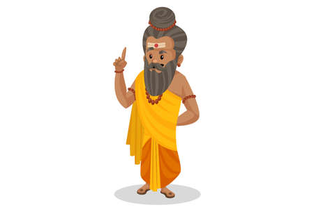 Dronacharya is pointing finger. Vector graphic illustration. Individually on a white background.